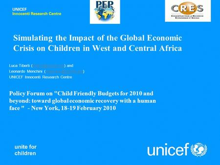 Simulating the Impact of the Global Economic Crisis on Children in West and Central Africa Luca Tiberti  Leonardo.