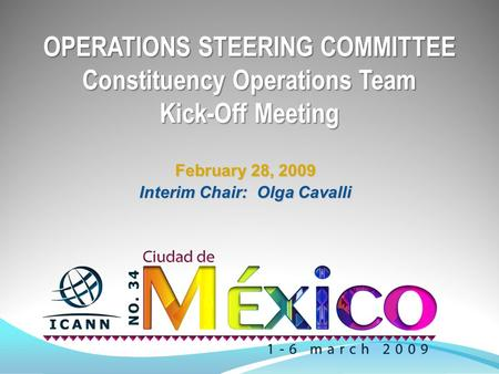 OPERATIONS STEERING COMMITTEE Constituency Operations Team Kick-Off Meeting February 28, 2009 Interim Chair: Olga Cavalli.