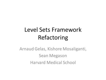 Level Sets Framework Refactoring Arnaud Gelas, Kishore Mosaliganti, Sean Megason Harvard Medical School.