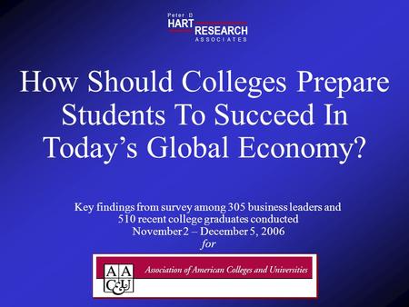 HART RESEARCH P e t e r D ASSOTESCIA How Should Colleges Prepare Students To Succeed In Todays Global Economy? Key findings from survey among 305 business.