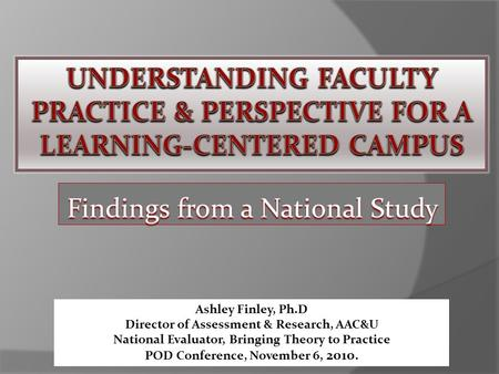 Findings from a National Study Ashley Finley, Ph.D Director of Assessment & Research, AAC&U National Evaluator, Bringing Theory to Practice POD Conference,