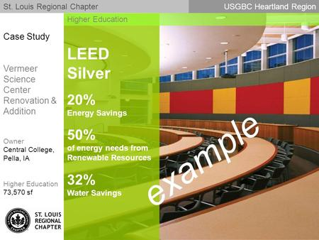 LEED Silver 20% Energy Savings 50% of energy needs from Renewable Resources 32% Water Savings St. Louis Regional ChapterUSGBC Heartland Region Higher Education.