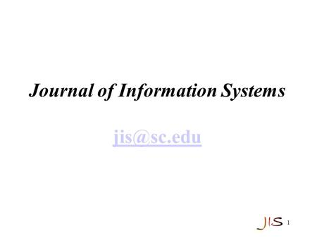 1 Journal of Information Systems