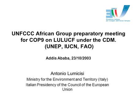 UNFCCC African Group preparatory meeting for COP9 on LULUCF under the CDM. (UNEP, IUCN, FAO) Addis Ababa, 23/10/2003 Antonio Lumicisi Ministry for the.