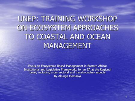 1 UNEP: TRAINING WORKSHOP ON ECOSYSTEM APPROACHES TO COASTAL AND OCEAN MANAGEMENT Focus on Ecosystems Based Management in Eastern Africa: Institutional.