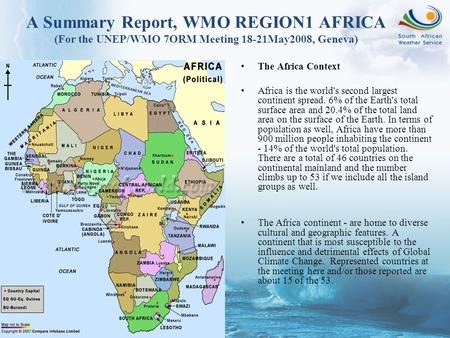 The Africa Context Africa is the world's second largest continent spread. 6% of the Earth's total surface area and 20.4% of the total land area on the.