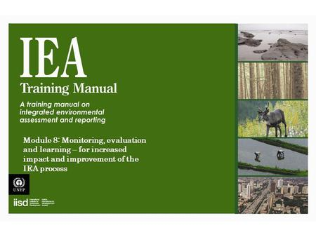 Module 8: Monitoring, evaluation and learning – for increased impact and improvement of the IEA process.