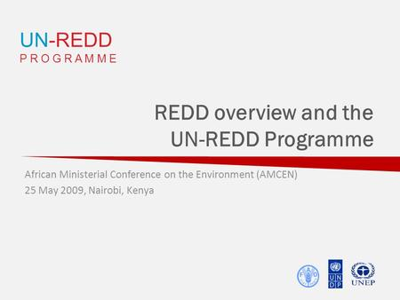 UN-REDD P R O G R A M M E REDD overview and the UN-REDD Programme African Ministerial Conference on the Environment (AMCEN) 25 May 2009, Nairobi, Kenya.