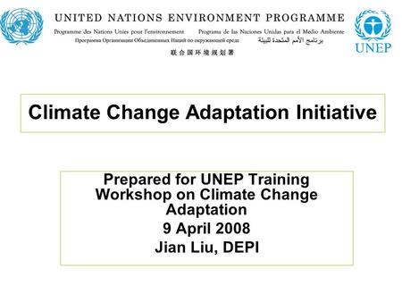 Climate Change Adaptation Initiative Prepared for UNEP Training Workshop on Climate Change Adaptation 9 April 2008 Jian Liu, DEPI.