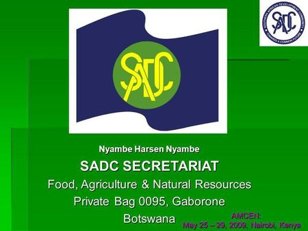 Nyambe Harsen Nyambe SADC SECRETARIAT Food, Agriculture & Natural Resources Private Bag 0095, Gaborone Botswana AMCEN: AMCEN: May 25 – 29, 2009, Nairobi,