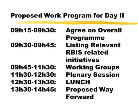Proposed Work Program for Day II 09h15-09h30:Agree on Overall Programme 09h30-09h45:Listing Relevant RBIS related initiatives 09h45-11h30:Working Groups.