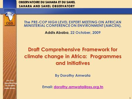Pre-COP Expert Meeting 22/10/2009 Addis-Ababa 1 The PRE-COP HIGH LEVEL EXPERT MEETING ON AFRICAN MINISTERIAL CONFERENCE ON ENVIRONMENT (AMCEN), Addis Ababa,