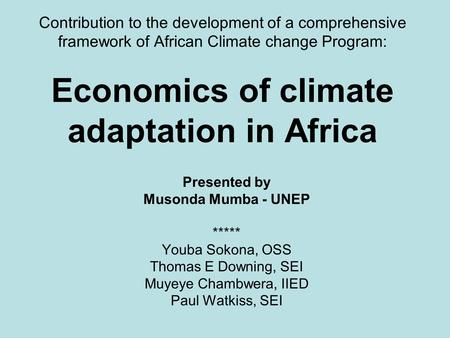 Contribution to the development of a comprehensive framework of African Climate change Program: Economics of climate adaptation in Africa Presented by.