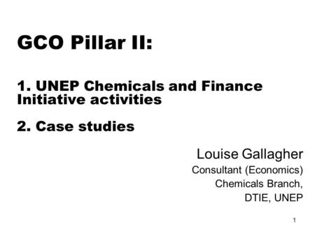 1 GCO Pillar II: 1. UNEP Chemicals and Finance Initiative activities 2. Case studies Louise Gallagher Consultant (Economics) Chemicals Branch, DTIE, UNEP.