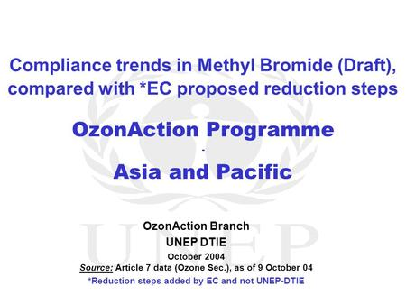 OzonAction Programme - Asia and Pacific OzonAction Branch UNEP DTIE October 2004 Source: Article 7 data (Ozone Sec.), as of 9 October 04 *Reduction steps.