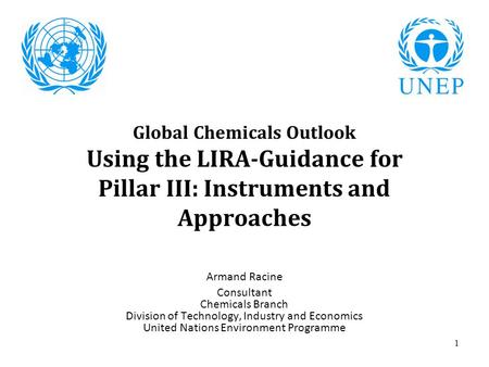 1 Global Chemicals Outlook Using the LIRA-Guidance for Pillar III: Instruments and Approaches Armand Racine Consultant Chemicals Branch Division of Technology,