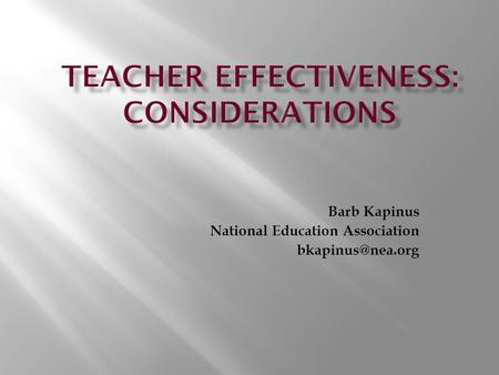 Barb Kapinus National Education Association