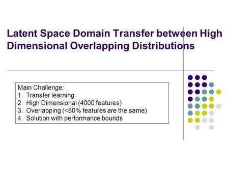 Latent Space Domain Transfer between High Dimensional Overlapping Distributions Sihong Xie Wei Fan Jing Peng* Olivier Verscheure Jiangtao Ren Sun Yat-Sen.