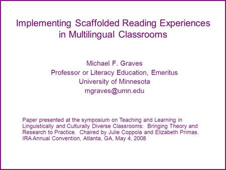 Implementing Scaffolded Reading Experiences in Multilingual Classrooms