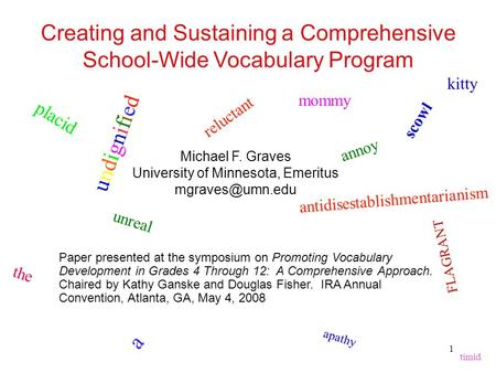 Creating and Sustaining a Comprehensive School-Wide Vocabulary Program