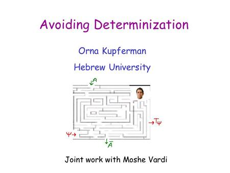 Avoiding Determinization Orna Kupferman Hebrew University Joint work with Moshe Vardi.