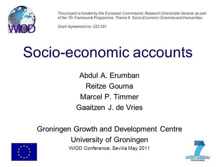 Socio-economic accounts