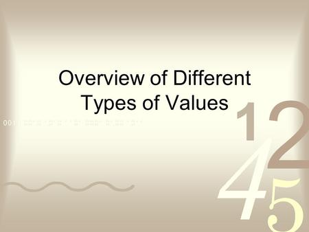 Overview of Different Types of Values. What Im Going to Do Discuss Different Values Ask LOTS of Questions Get You to Think of the Answers.