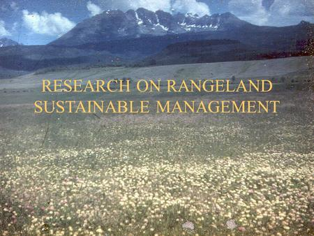 RESEARCH ON RANGELAND SUSTAINABLE MANAGEMENT. SUSTAINABLE RANGELAND MANAGEMENT Management of rangeland ecosystems to provide desired mixes of benefits.
