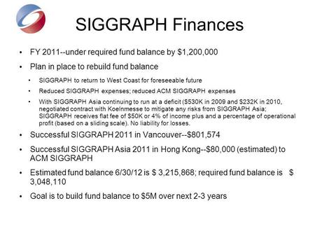 SIGGRAPH Finances FY 2011--under required fund balance by $1,200,000 Plan in place to rebuild fund balance SIGGRAPH to return to West Coast for foreseeable.