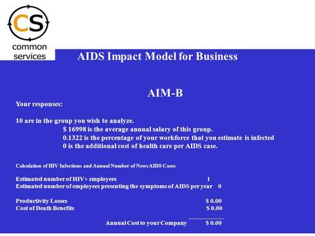 1 AIDS Impact Model for Business AIM-B Your responses: 10 are in the group you wish to analyze. $ 16998 is the average annual salary of this group. 0.1322.