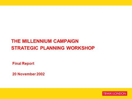 THE MILLENNIUM CAMPAIGN STRATEGIC PLANNING WORKSHOP Final Report 20 November 2002.