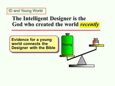 The Intelligent Designer is the God who created the world recently Old Young Evidence for a young world connects the Designer with the Bible ID and Young.