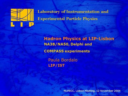 12 Nov 2004 Paula Bordalo, NUPECC-Lisbon meting 1 Title Paula Bordalo LIP/IST NUPECC, Lisbon Meeting, 12 November 2004 Hadron Physics at LIP-Lisbon NA38/NA50,