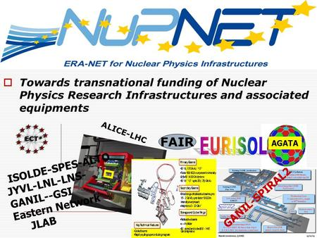 Towards transnational funding of Nuclear Physics Research Infrastructures and associated equipments GANIL-SPIRAL2 AGATA ISOLDE-SPES-ALTO JYVL-LNL-LNS-