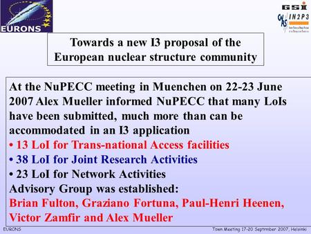 EURONSTown Meeting 17-20 Septrmber 2007, Helsinki Towards a new I3 proposal of the European nuclear structure community At the NuPECC meeting in Muenchen.