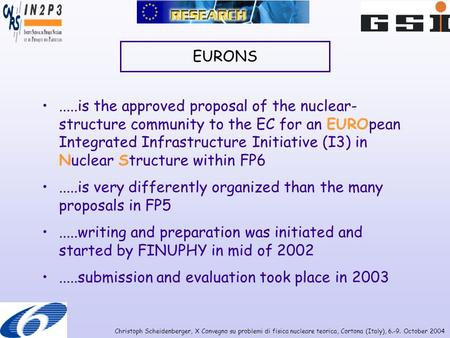 Christoph Scheidenberger, X Convegno su problemi di fisica nucleare teorica, Cortona (Italy), 6.-9. October 2004 EURONS.....is the approved proposal of.