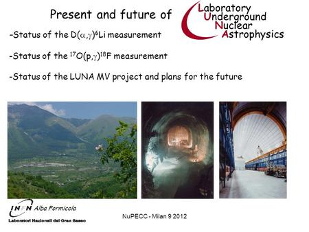 NuPECC - Milan 9 2012 Present and future of Laboratory Underground Nuclear Astrophysics Alba Formicola - Status of the D(, ) 6 Li measurement -Status of.
