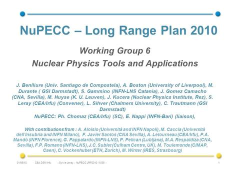CEA DSM Irfu - Sylvie Leray - NuPECC LRP2010 WG6 -01/06/10 1 NuPECC – Long Range Plan 2010 Working Group 6 Nuclear Physics Tools and Applications J. Benlliure.