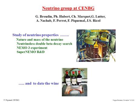 Neutrino group at CENBG