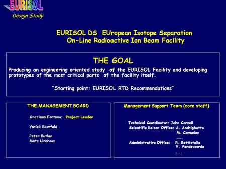 EURISOL DS EUropean Isotope Separation On-Line Radioactive Ion Beam Facility THE GOAL Producing an engineering oriented study of the EURISOL Facility and.