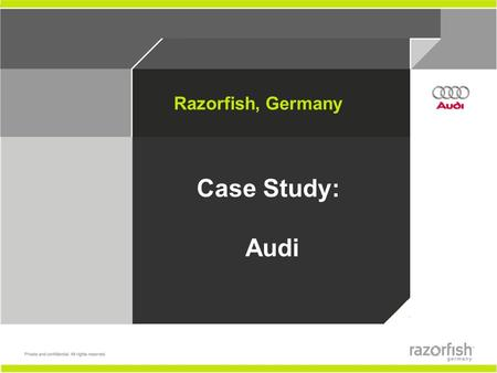Razorfish, Germany Case Study: Audi 2 1. Schematics (wireframes) 2. Jumping Boxes 3. Right vs. Left Navigation.