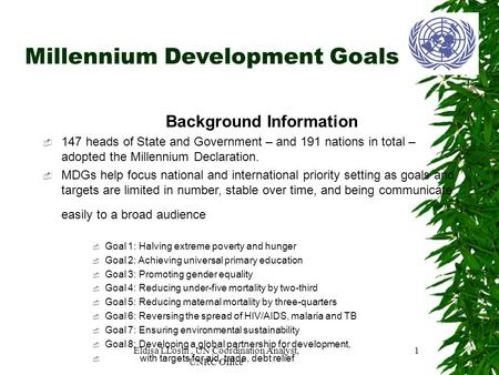 Millennium Development Goals Background Information