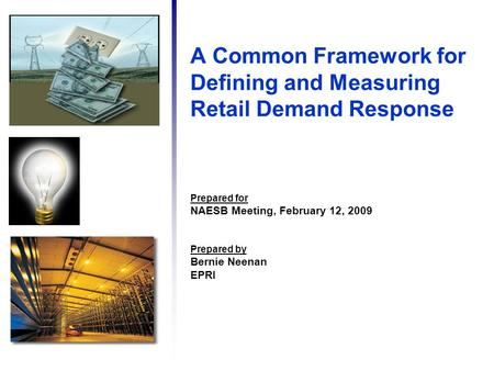 A Common Framework for Defining and Measuring Retail Demand Response Prepared for NAESB Meeting, February 12, 2009 Prepared by Bernie Neenan EPRI.