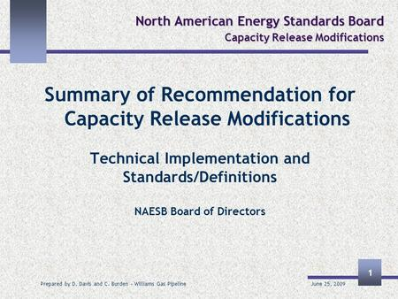 June 25, 2009 Prepared by D. Davis and C. Burden – Williams Gas Pipeline 1 North American Energy Standards Board Capacity Release Modifications Summary.