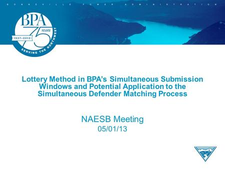 Lottery Method in BPA's Simultaneous Submission Windows and Potential Application to the Simultaneous Defender Matching Process NAESB Meeting 05/01/13.