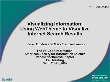 Visualizing Information: Using WebTheme to Visualize Internet Search Results Karen Buxton and Mary Frances Lembo The Value of Information: American Society.