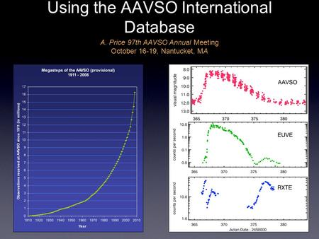 Using the AAVSO International Database A. Price 97th AAVSO Annual Meeting October 16-19, Nantucket, MA.
