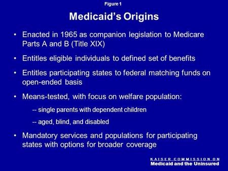 K A I S E R C O M M I S S I O N O N Medicaid and the Uninsured Figure 0 Medicaid: The Essentials Diane Rowland, Sc.D. Executive Vice President, Henry J.
