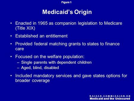 Figure 0 K A I S E R C O M M I S S I O N O N Medicaid and the Uninsured Medicaid: The Basics Diane Rowland, Sc.D. Executive Vice President Kaiser Family.