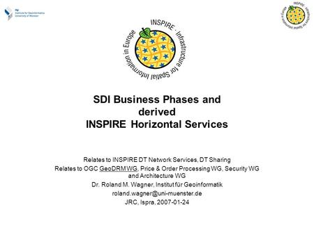 SDI Business Phases and derived INSPIRE Horizontal Services Relates to INSPIRE DT Network Services, DT Sharing Relates to OGC GeoDRM WG, Price & Order.